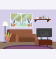 diving room with sofa and tv decoration vector image