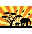 Elephants in africa vector | Price: 1 Credit (USD $1)