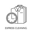 express cleaning shirts clock as fast service vector image vector image