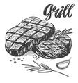 food meat steak roast set calligraphic text vector image