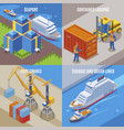four seaport isometric icon set vector image vector image