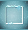 frame with realistic snow and icicles beautiful vector image vector image