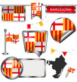 glossy icons with flag of barcelona vector image