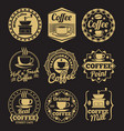 gold coffee shop labels on black backdrop vector image