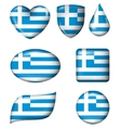 Greece flag in various shape glossy button vector image vector image