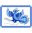 Greeting card blue bird in folk style vector image vector image