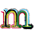 Grunge colorful font Letter m vector image vector image