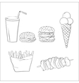 Hand drawn fast food doodles vector image