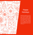 happy holidays banner template in line style vector image vector image