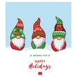 happy holidays card with christmas gnomes in red vector image