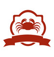 heraldic border with crab and label vector image vector image