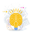 human brain in form a bright lamp vector image vector image