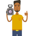 image of africo american man with video vector image vector image