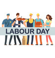 Labour day banner with cartoon professionals