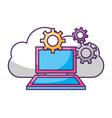 laptop computer gears cloud data storage vector image vector image
