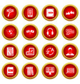 learning foreign languages icon red circle set vector image vector image