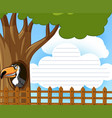 line paper with toucan bird in the tree vector image vector image