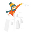 little boy in snow castle playing snowball fight vector image vector image