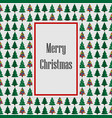 merry christmas green withe card tree background vector image