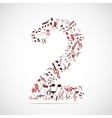 number two made from music notes vector image
