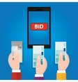 online bidding auction mobile phone bid button vector image