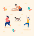 people practicing yoga running and stretching vector image