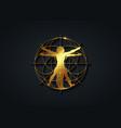 sacred geometry gold symbol vitruvian man sign vector image vector image