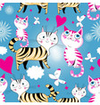 seamless cartoon funny pattern cats in l vector image