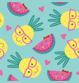 seamless pattern with pineapple and watermelon vector image vector image