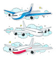 set aircraft comic style colorful icons vector image