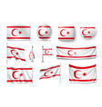 set northern cyprus flags banners banners vector image vector image