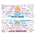 set of banners with social media and social vector image