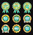 set of excellent quality turquoise badges vector image vector image
