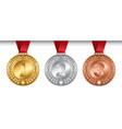 set winner medals golden silver bronze vector image