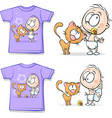 Shirt with Cute Baby and cat vector image vector image