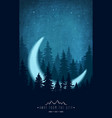 silhouette forest at night sky woodland vector image