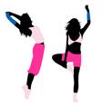 silhouette girl fitness vector image