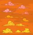 Sunset cartoon clouds vector image vector image