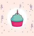 sweet cupcake with candle vector image
