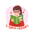 teenage girl reading book vector image vector image