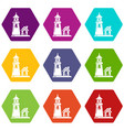 tower and house icons set 9 vector image