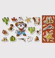 western wild west art stickers set gun bullets vector image vector image