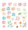 set of flowers leaves berries drawn in a simple vector image