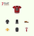flat icon dress set of male footware pants vector image