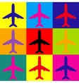 Airplane sign Pop-art style icons set vector image vector image