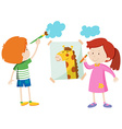 Boy and girl painting the room vector image vector image