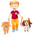 Boy walking two dogs vector image vector image