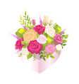 bright poster with elegant bunch with flowers vector image vector image