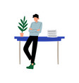businessman or office worker standing next to desk vector image vector image