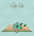 Card or invitation with book and flower vector image vector image